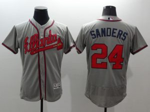 2016 MLB FLEXBASE Atlanta Braves 24 Sanders grey jerseys