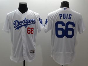 2016 MLB FLEXBASE Los Angeles Dodgers 66 Puig white jerseys