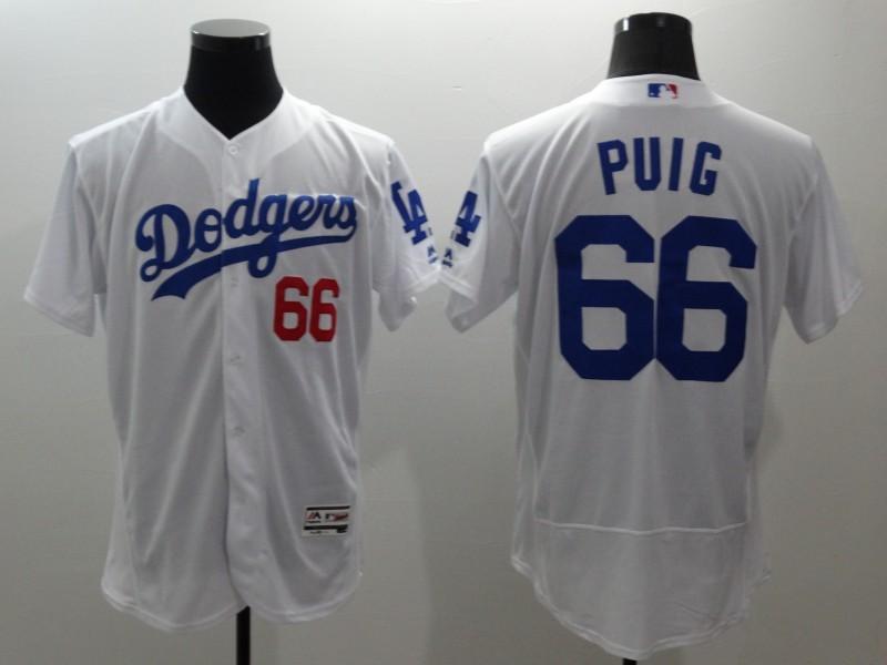 2016 MLB FLEXBASE Los Angeles Dodgers 66 Puig white jerseys