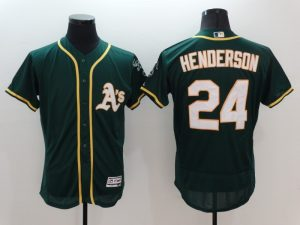 2016 MLB FLEXBASE Oakland Athletics 24 Henderson Green Jersey