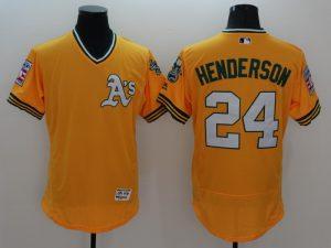 2016 MLB FLEXBASE Oakland Athletics 24 Henderson Yellow Jersey