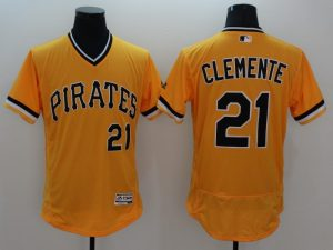 2016 MLB FLEXBASE Pittsburgh Pirates 21 Clemente Yellow Jersey