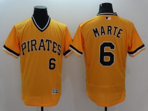 2016 MLB FLEXBASE Pittsburgh Pirates 6 Marte Yellow Jersey