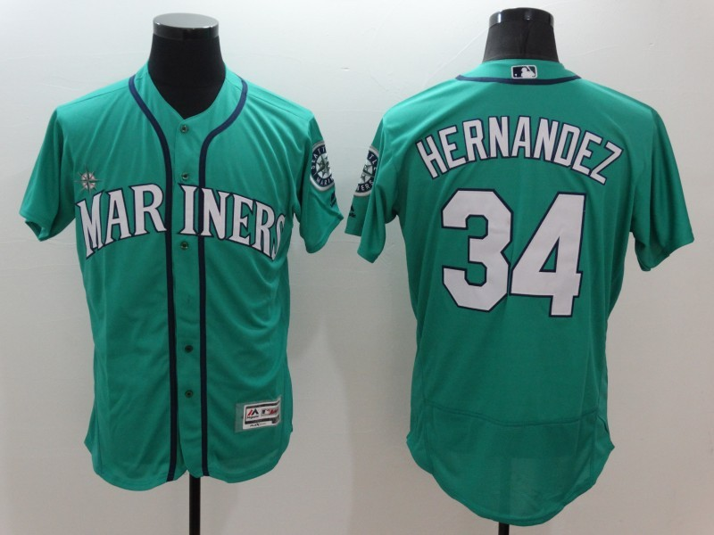 2016 MLB FLEXBASE Seattle Mariners 34 Hernandez Green Jersey