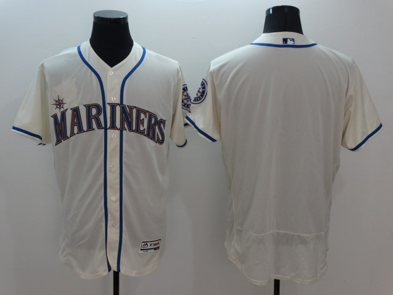 2016 MLB FLEXBASE Seattle Mariners Blank Gream Jersey