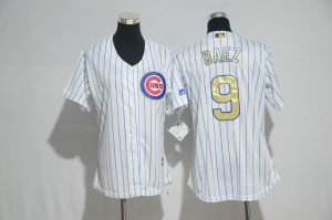 womens-2017-mlb-chicago-cubs-9-baez-cubs-white-gold-program-jersey