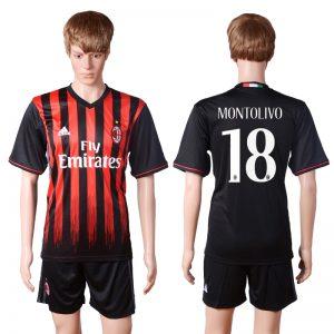 2016-2017 club AC milan home 18 MONTOLIVO Black Soccer Jersey