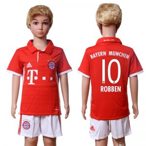 2016-2017 club Bayern Munich home Kids 10 ROBBEN Red Soccer Jersey