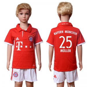 2016-2017 club Bayern Munich home Kids 25 MULLER Red Soccer Jersey