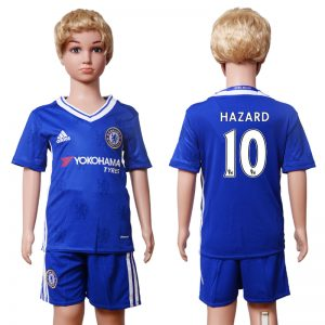 2016-2017 club Chelsea home Kids 10 Hazard Blue Soccer Jersey