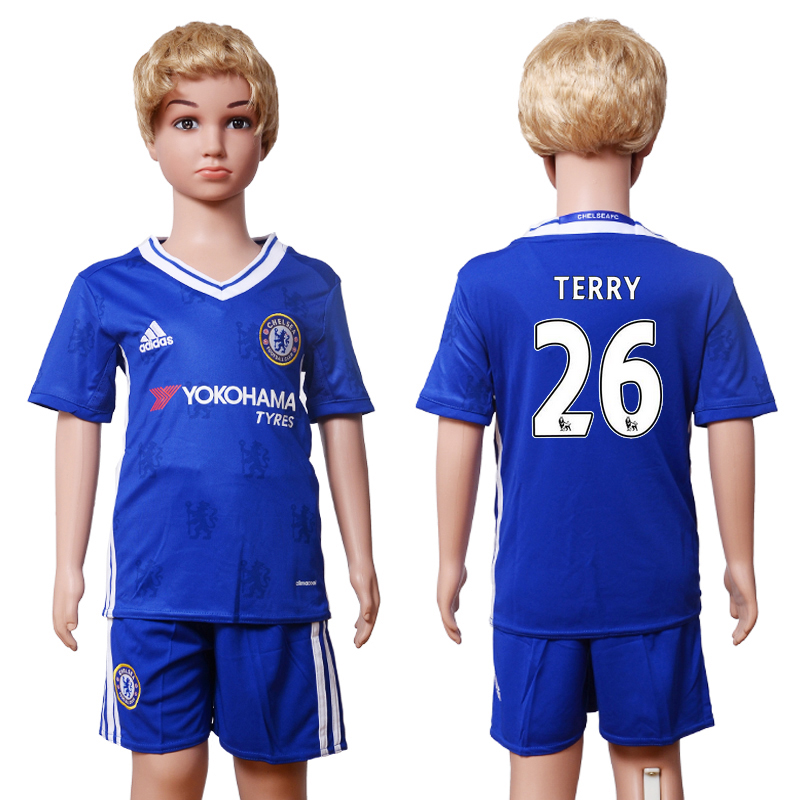 2016-2017 club Chelsea home Kids 26 Terry Blue Soccer Jersey