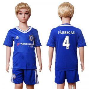 2016-2017 club Chelsea home Kids 4 Fabregas Blue Soccer Jersey