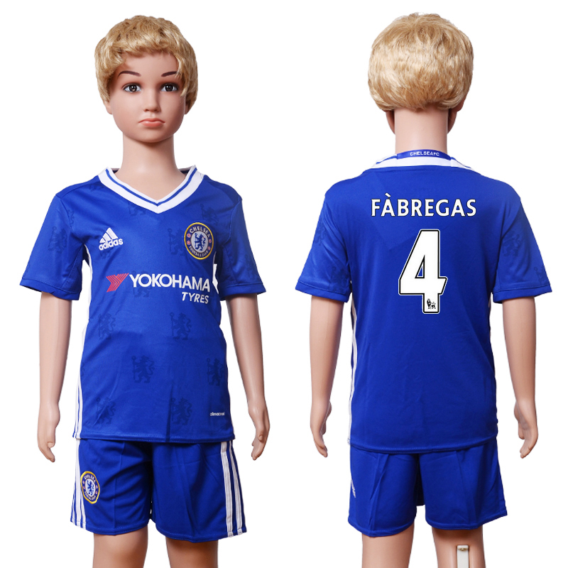 2016-2017 club Chelsea home Kids 4 Fabregas Blue Soccer Jersey