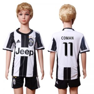 2016-2017 club Juventus home Kids 11 COMAN White Soccer Jersey