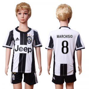 2016-2017 club Juventus home Kids 8 MARCHISIO White Soccer Jersey