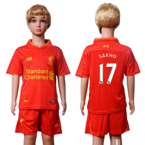 2016-2017 club Liverpool home Kids 17 SAKHO Red Soccer Jersey