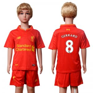 2016-2017 club Liverpool home Kids 8 GERRARD Red Soccer Jersey