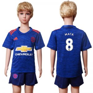 2016-2017 club Manchester United away Kids 8 MATA Blue Soccer Jersey
