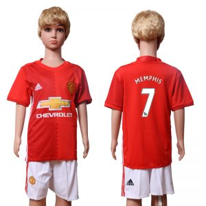 2016-2017 club Manchester United home Kids 7 MEMPHIS Red Soccer Jersey