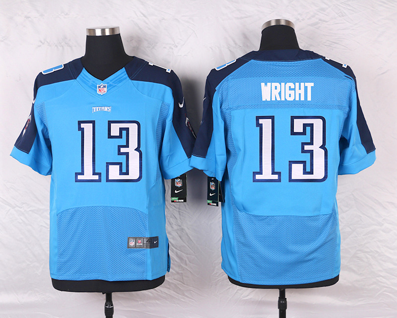 2016 Men's Nike Tennessee Titans 13 Kendall Wright Elite Light Blue Team Color NFL Jersey