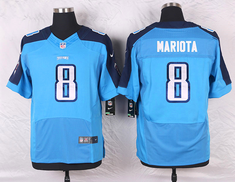2016 Men's Nike Tennessee Titans 8 Marcus Mariota Elite Light Blue Team Color NFL Jersey
