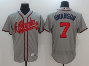 2017 MLB Atlanta Braves 7 Swanson Grey Elite Jerseys