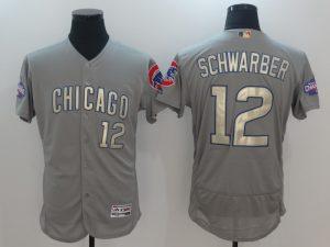 2017 MLB Chicago Cubs 12 Schwarber Grey Gold Program Elite Jersey