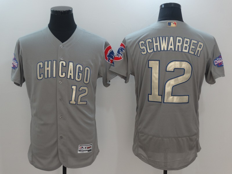 2017 MLB Chicago Cubs 12 Schwarber Grey Gold Program Elite Jersey