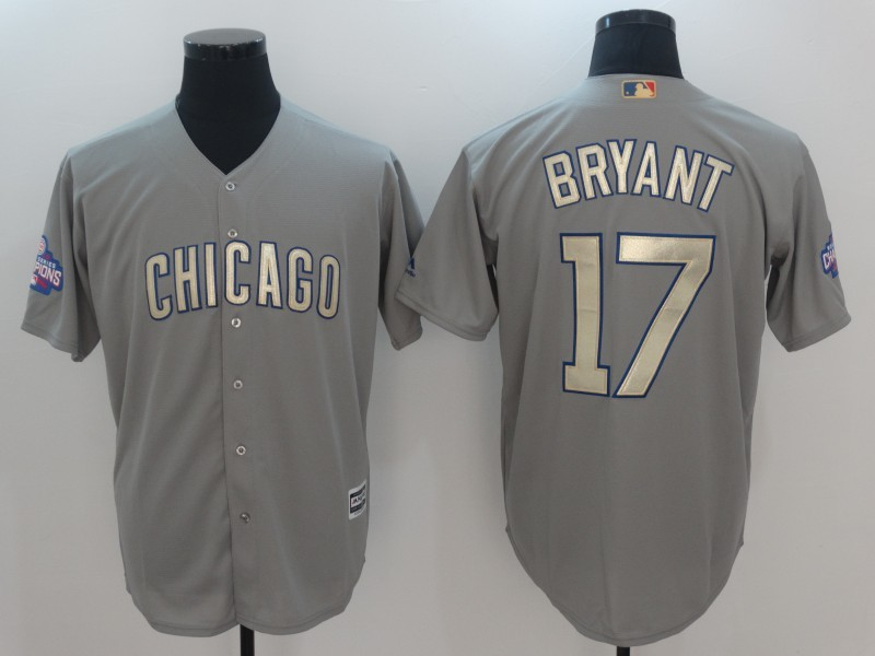 2017 MLB Chicago Cubs 17 Bryant Grey Gold Program Game Jersey