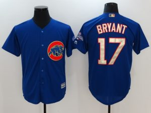 2017 MLB Chicago Cubs 17 Kris Bryant Blue Game Championship Gold Edition Jerseys