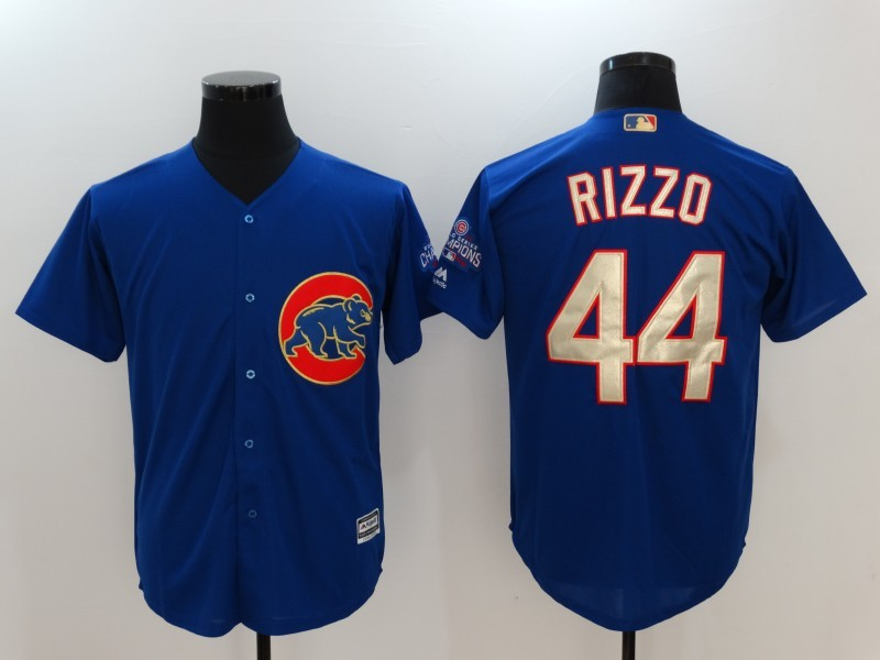 2017 MLB Chicago Cubs 44 Anthony Rizzo Blue Game Championship Gold Edition Jerseys