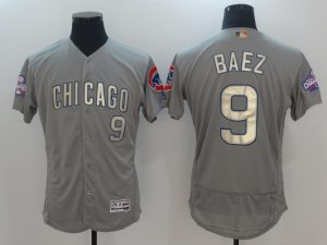 2017 MLB Chicago Cubs 9 Baez Grey Gold Program Elite Jersey