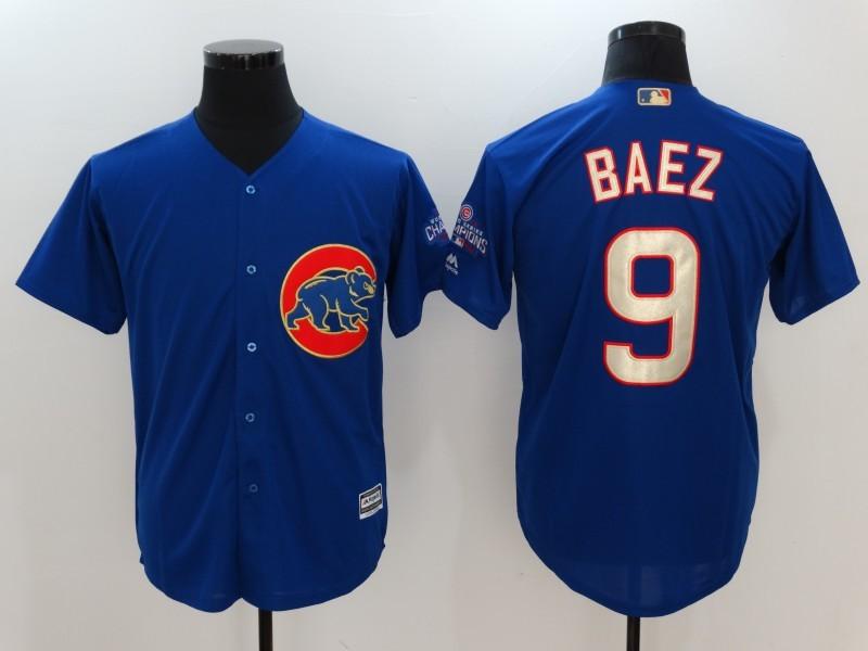 2017 MLB Chicago Cubs 9 Javier Baez Blue Game Championship Gold Edition Jerseys