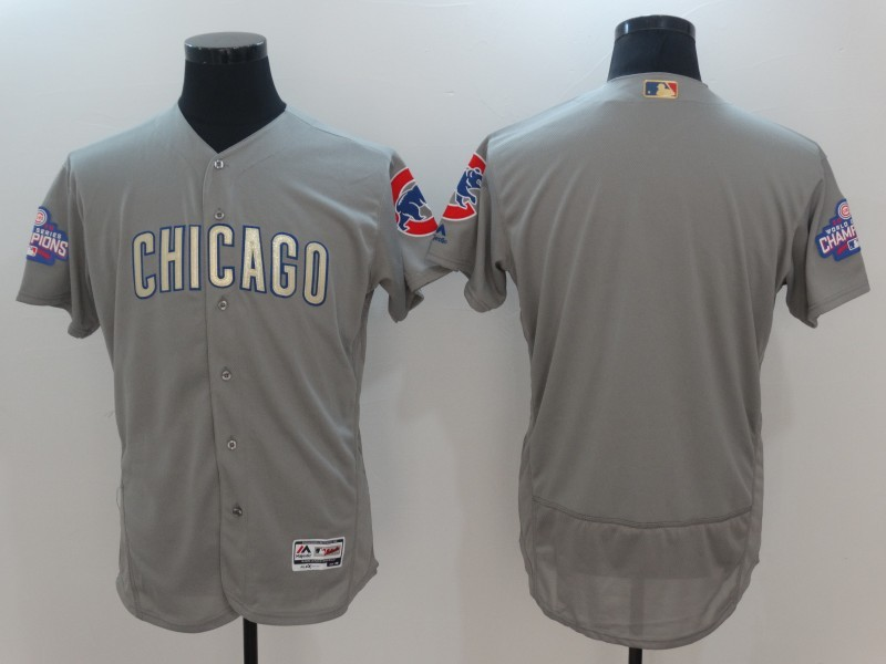 2017 MLB Chicago Cubs Blank Grey Gold Program Elite Jersey