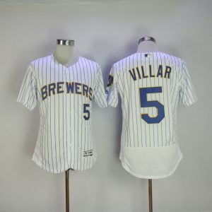 2017 MLB Milwaukee Brewers 5 Jonathan Villa White Elite Jerseys