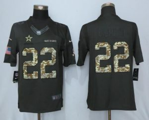 2017 Men Dallas Cowboys 22 E.Smith Anthracite Salute To Service New Nike Limited Jersey