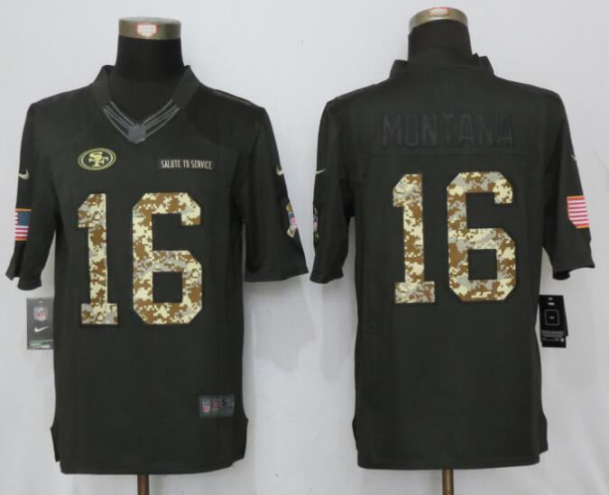 2017 Men San Francisco 49ers 16 Montana Anthracite Salute To Service New Nike Limited Jersey