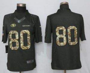 2017 Men San Francisco 49ers 80 Rice Anthracite Salute To Service New Nike Limited Jersey