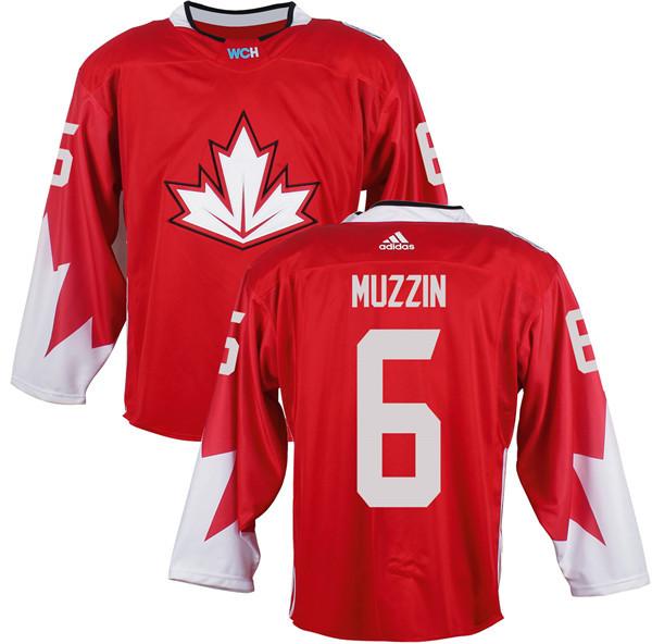 Mens Team Canada 6 Jake Muzzin 2016 World Cup of Hockey Olympics Game Red Jerseys