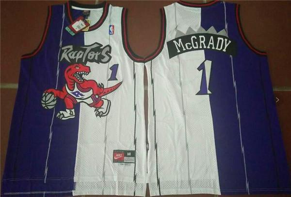 NBA Toronto Raptors 1 Tracy Blue White split Jerseys