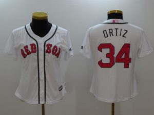 Womens 2017 MLB Boston Red Sox 34 Ortiz White Jerseys