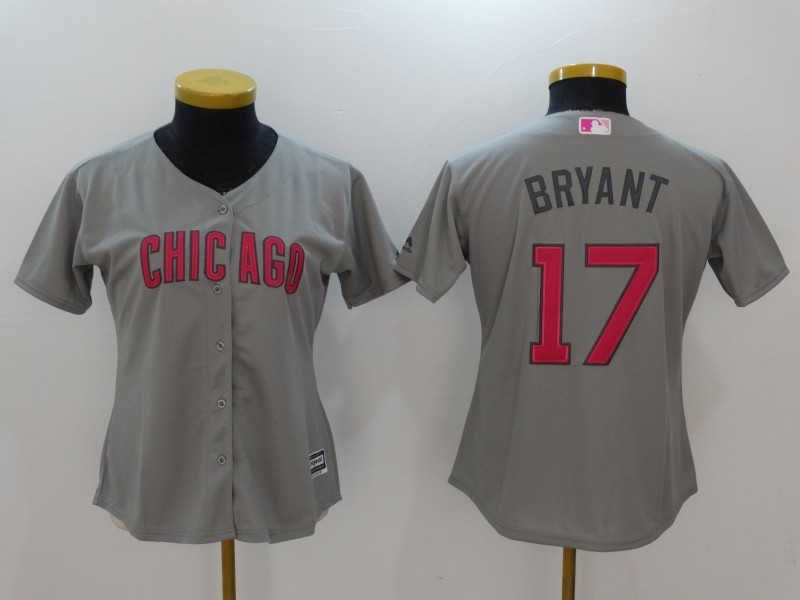 Womens 2017 MLB Chicago Cubs 17 Bryant Grey Gold Program Jersey