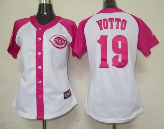 Womens 2017 MLB Cincinnati Reds 19 Yotto Pink Splash Fashion Jersey