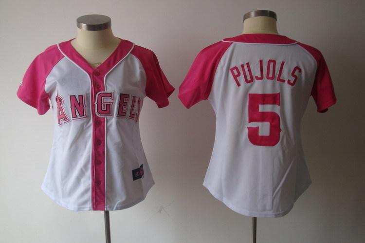 Womens 2017 MLB Los Angeles Angels 5 Pujols Pink Splash Fashion Jersey