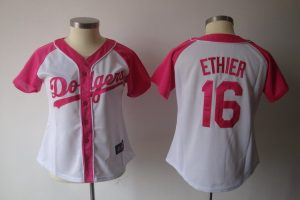 Womens 2017 MLB Los Angeles Dodgers 16 Ethier Pink Splash Fashion Jersey