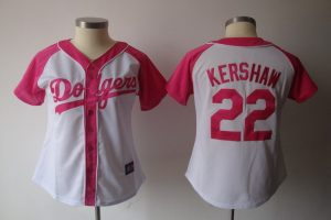 Womens 2017 MLB Los Angeles Dodgers 22 Kershaw Pink Splash Fashion Jersey