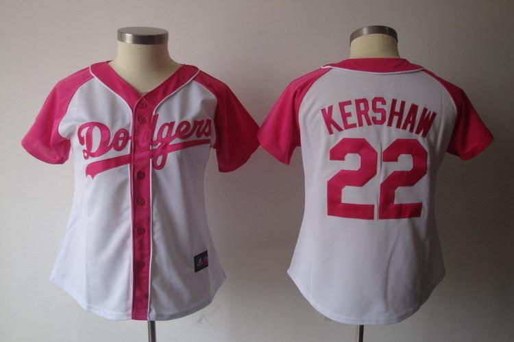 Womens 2017 MLB Los Angeles Dodgers 22 Kershaw Pink Splash Fashion Jersey