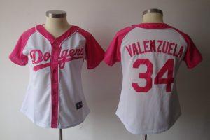 Womens 2017 MLB Los Angeles Dodgers 34 Valenzuela Pink Splash Fashion Jersey