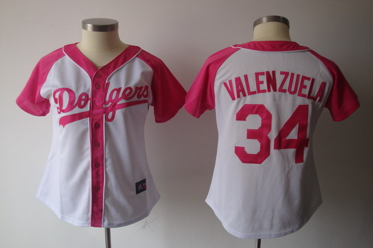 Womens 2017 MLB Los Angeles Dodgers 34 Valenzuela Pink Splash Fashion Jersey