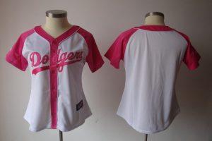 Womens 2017 MLB Los Angeles Dodgers Blank Pink Splash Fashion Jersey